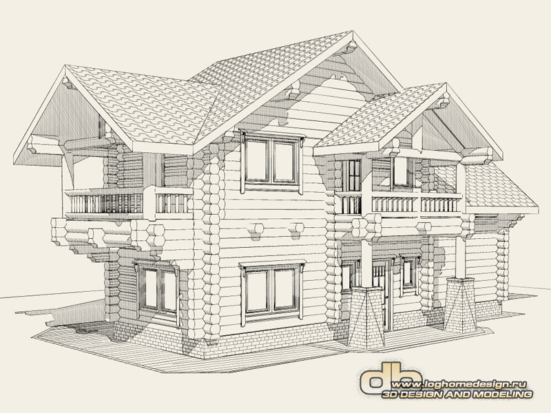 Prices For Log House Design And 3d Modeling Denissov Loghome Design: 3d house drawing